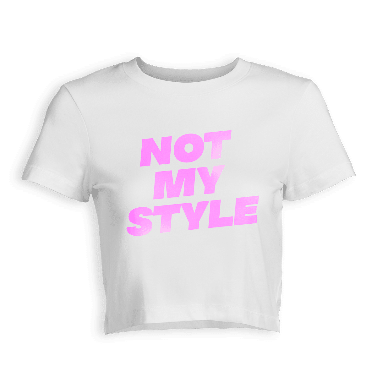 Weißes Cropped Shirt mit pinkem Aufdruck