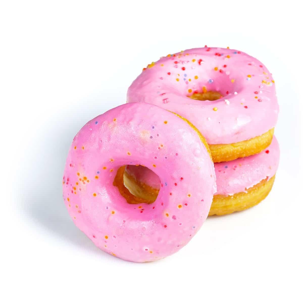 Pinke Donuts mit bunten Sprenklern