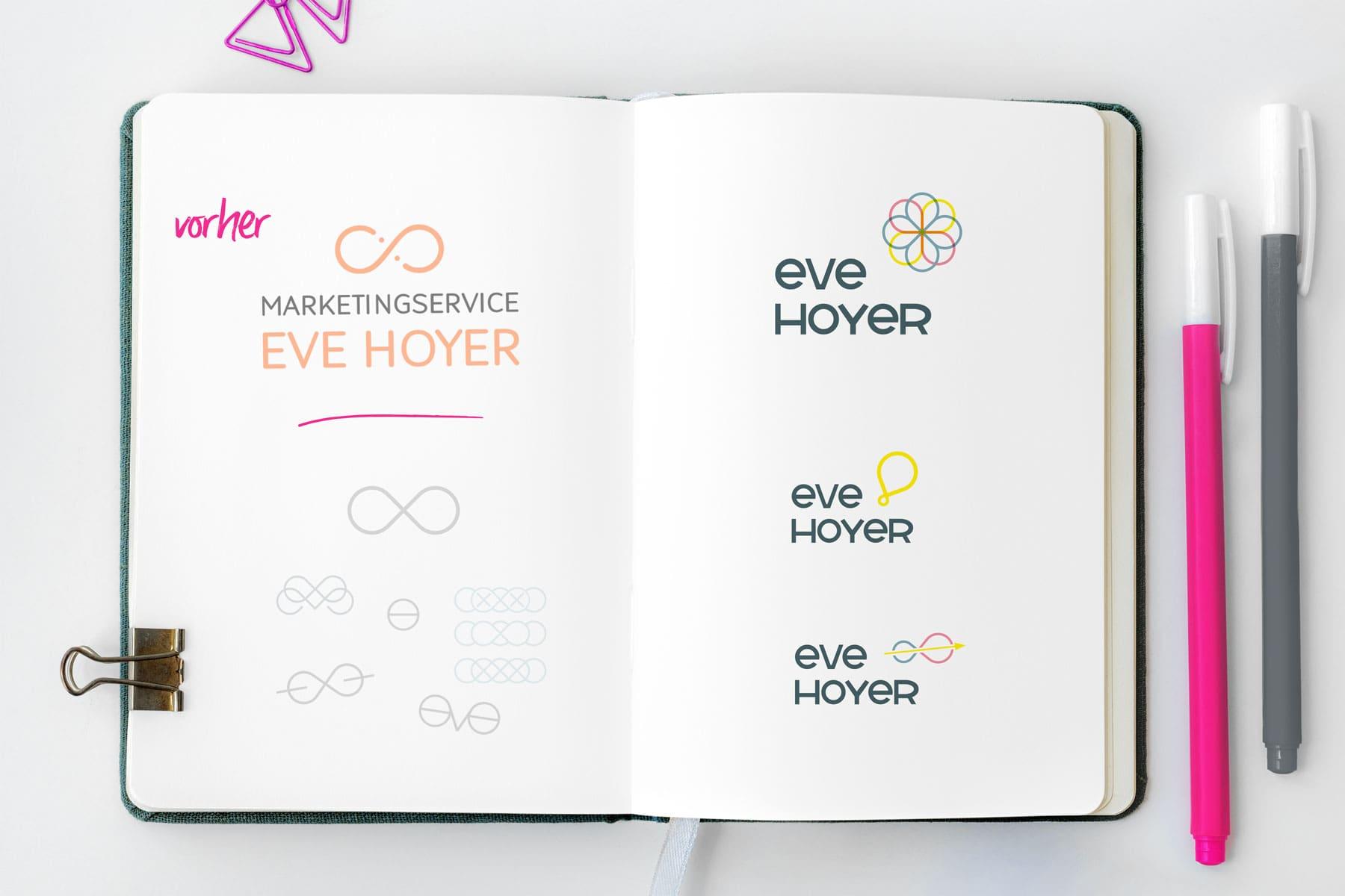 Eve Hoyer Logos vorher nachher