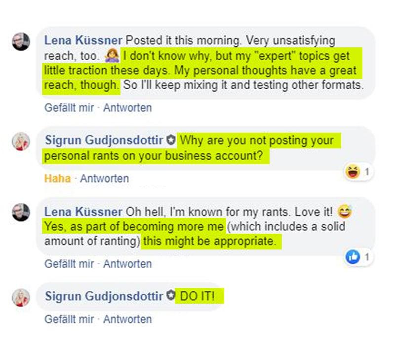 Ein Facebook-Chat-Protokoll zwischen Lena und Sigrun